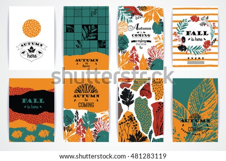 Set of artistic creative autumn cards. Hand Drawn textures and brush lettering. Design for poster, card, invitation, placard, brochure, flyer. Vector templates #481283119