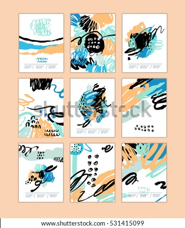 Set of artistic creative cards with hand drawn shapes and textures Universal templates for invitation.