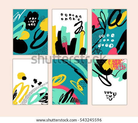 set of artistic creative cards