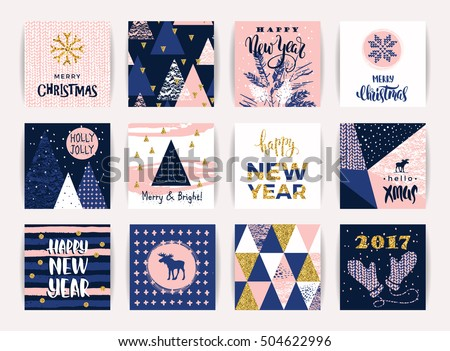 set of artistic creative merry