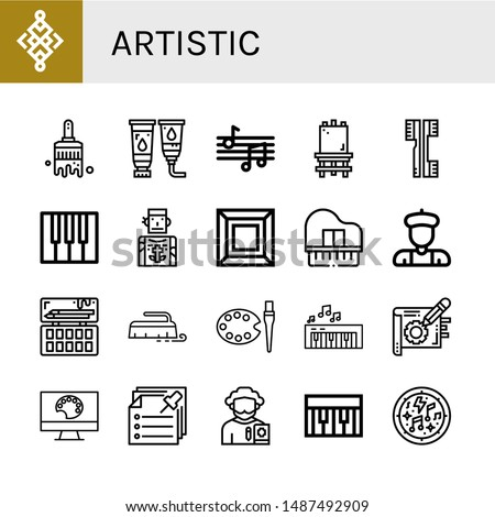 Set of artistic icons such as Abstract, Paint brush, Paint tube, Musical notes, Canvas, Brushes, Piano, Tattoo artist, Art, Artist, Painting palette, Brush, Note, Notes