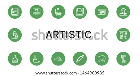 Set of artistic icons such as Note, Painting palette, Easel, Notes, Piano, Artist, Brush, Rolling pin, Snail, Brushes, Paint tube , artistic