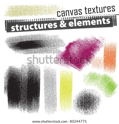 Set of artistic natural media grunge elements - canvas texture