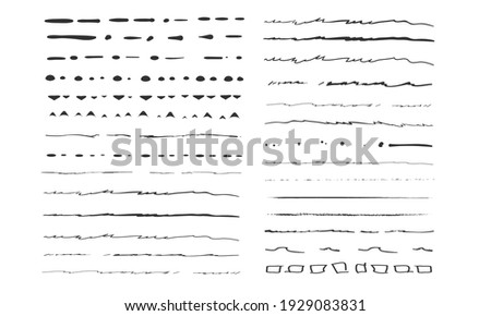 Set of artistic pen brushes.Doodles, ink brushes.Set of vector grunge brushes. Collection of strokes of markers. Set of wavy horizontal lines