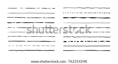 Set of artistic pen brushes. Hand drawn grunge strokes. Vector illustration Сток-фото ©