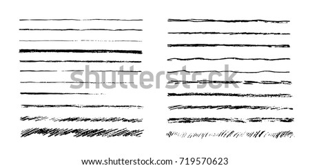 Set of artistic pencil brushes. Hand drawn grunge strokes. Vector illustration