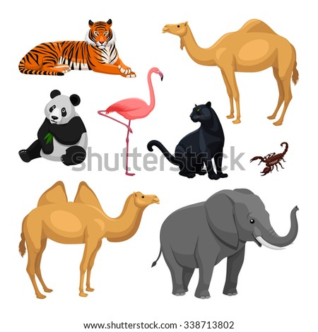 set of asian animals