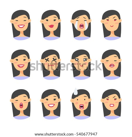 Set of asian emoji character. Cartoon style emotion icons. Isolated girl avatars with different facial expressions. Flat illustration women's emotional faces. Hand drawn vector drawing emoticon