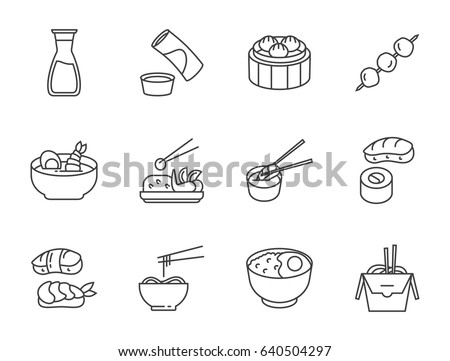 Set of Asian food outline vector icons. Cafe and restaurant icons set.