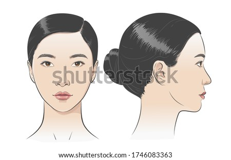 Set of Asian korean women portrait two dimension angles. Different view front, profile side view of a girl face. Vector line sketch illustration.