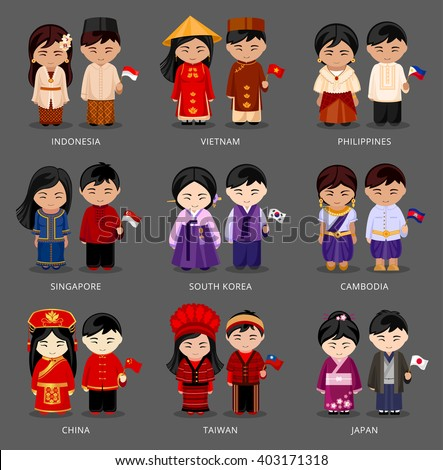 set of asian pairs dressed in