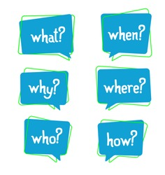 Set of 5 ask w words in bubbles - why, what, who, where, when, how? Who, why sign