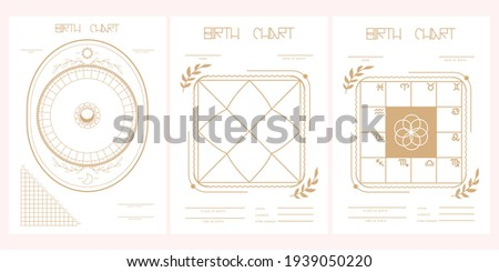 Set of astroblank. Scheme for building a natal chart. Vector illustration. Stock photo ©