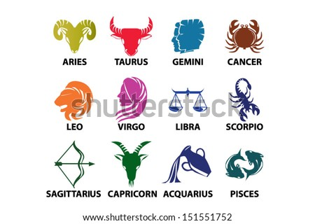 Set of astrological zodiac symbols. Horoscope signs, classic colorful design