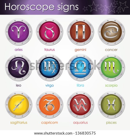Set of astrological zodiac symbols.Horoscope signs on colorful badges