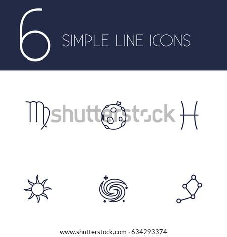 set of 6 astrology outline