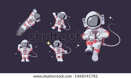 Set of astronaut in various poses in outer space. Spaceman galaxy exploration. Astronomy intergalactic star mission flight, galactic research concept. Flat man for comic, games and other design