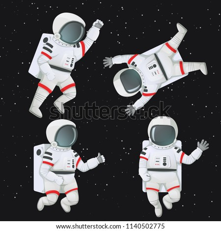 Set of astronauts floating in space in different poses: waving, giving thumbs up, raising fist and flying with limbs akimbo.