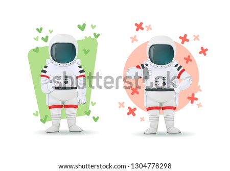Set of astronauts making gestures of approval and disapproval. One showing thumbs up and other thumbs down sign. Like and dislike poses. Isolated on a white background. Cartoon characters. Vector.
