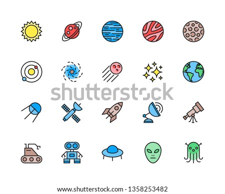 Set of Astronomy and Space Flat Color Line Icons. Sun, Solar System, Galaxy, Cosmos, Stars, Black Hole, Sputnik, Telescope, Moon, Alien, UFO, Planets, Spaceship and more. Pack of 48x48 Pixel Icons