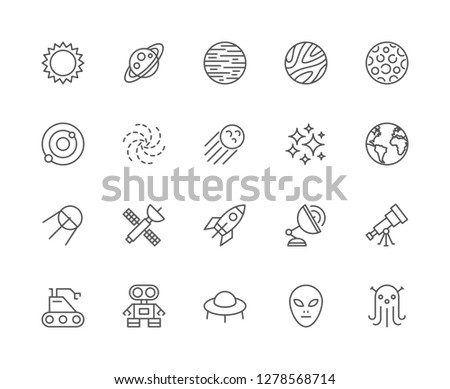 Set of astronomy and space line icons. Sun, solar system, galaxy, cosmos, stars, black hole, sputnik, rocket, telescope, moon, robot, alien, UFO, planets, spaceship, meteorite and more.