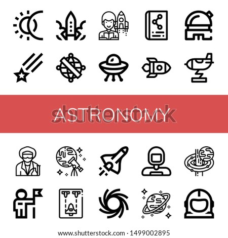 Set of astronomy icons such as Eclipse, Shooting star, Rocket, Armillary sphere, Astronomer, Ufo, Scientific, Observatory, Scientist, Astronaut, Discovery, Spaceship , astronomy