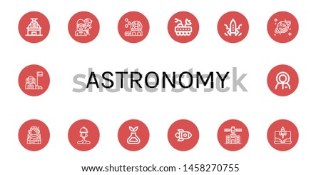 Set of astronomy icons such as Observatory, Astronomer, Moon rover, Rocket, Uranus, Astronaut, Science, Planetarium , astronomy