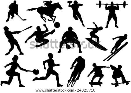 Set of athlete silhouettes
