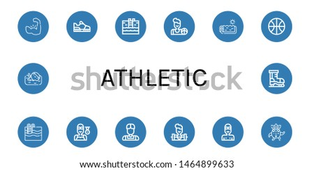 Set of athletic icons such as Muscle, Running shoes, Swimming pool, Basketball, Swimmer, Athlete, Weighlifter, Strong, Ice skate , athletic
