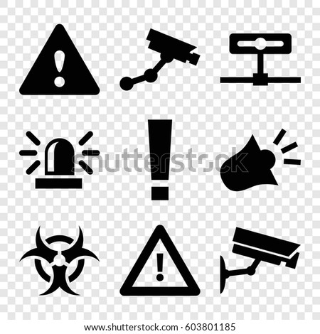 set of 9 attention filled icons