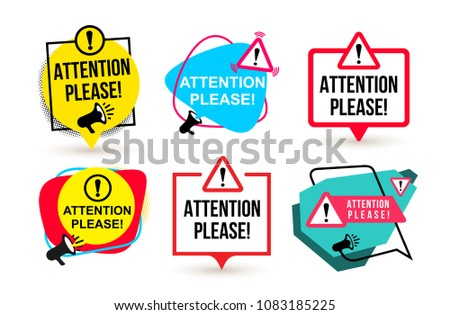 Set of Attention please. Badge with megaphone icons. Flat design. Concept vector illustration. Isolated on white background.