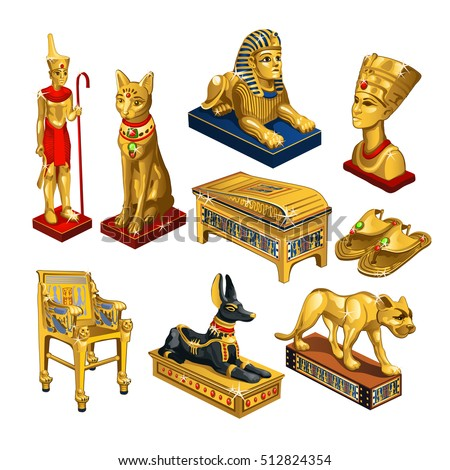 Set of attributes and jewelry on the theme of ancient Egypt isolated on white background. Golden figurine in the shape of the head of Cleopatra, sacred animals. Vector illustration.