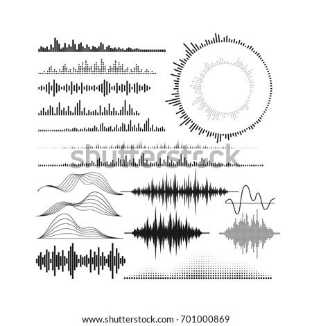 Set of audio equalizer shapes. Sound wave forms. Digital music graphic visualization. HUD elements for design. Vector technology illustration