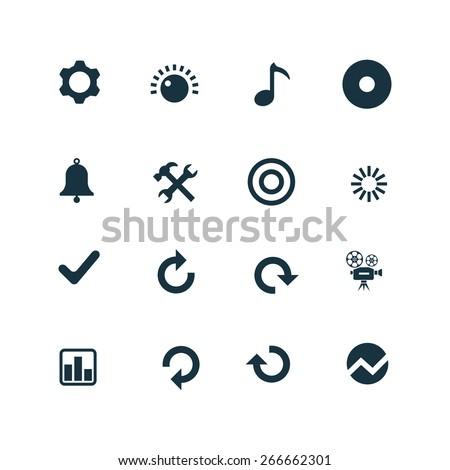 set of audio icons on white background