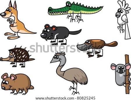 Set of australian animals - stock vector