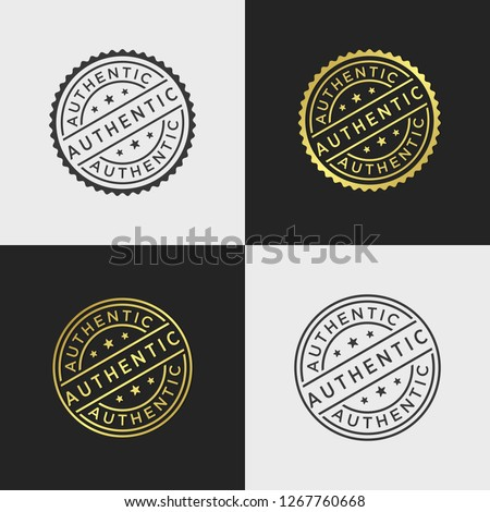 Set of authentic stamp vector