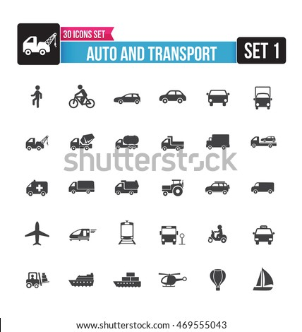 Set of auto and transport icon isolated on white background vector illustration eps10