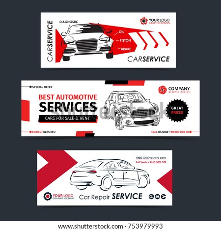 Set of auto repair service banner, poster, flyer. Car service business layout templates. Vector illustration.