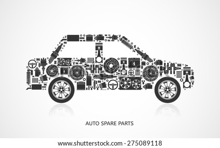 set of auto spare parts car