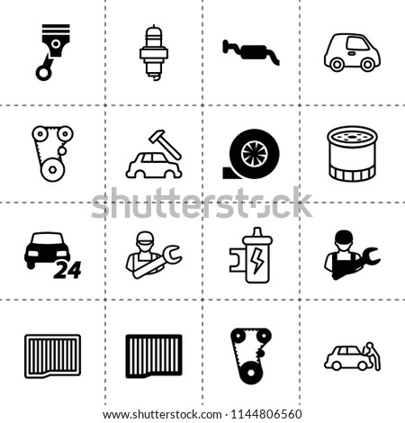 Set of 16 automotive filled and outline icons such as air filter, timing belt, turbo, 24/7 car service, piston, muffler, car mechanics, oil filter, spark plug