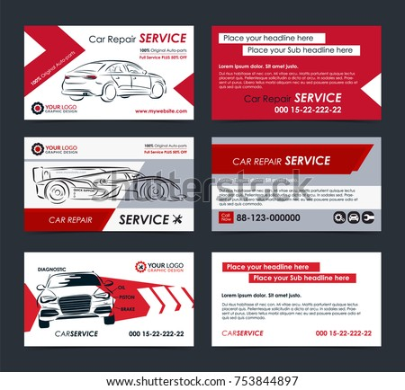 Business card with gear download free vector art stock graphics set of automotive service business cards layout templates create your own business cards mockup reheart Image collections
