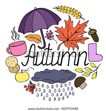 set of autumn autumn object
