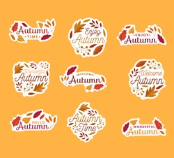 Set of autumn banners, badges or stickers. Vector design set of banners for autumn season bright autumn leaves. Collection for seasonal template, flyer, poster, card, label