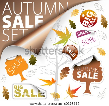 Set of autumn discount tickets, labels, stamps, stickers, corners, tags (vector)