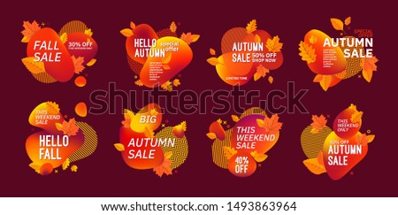 Set of autumn fall season abstract compositions. Sale discount special offers text and colorful gradient shapes.