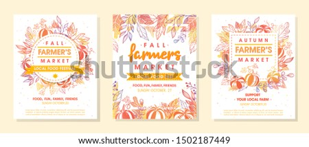 Set of autumn fermers market banners with leaves and floral elements.Local food fest design perfect for prints,flyers,banners,invitations.Fall harvest festival.Vector autumn illustrations.