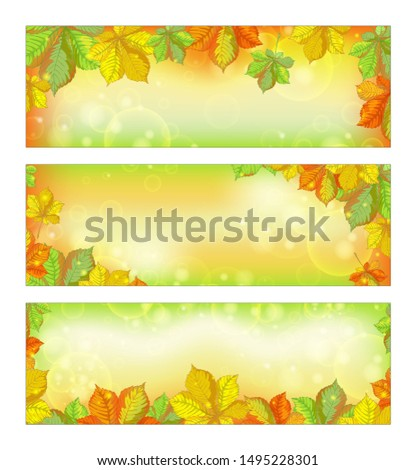 set of autumn horizontal