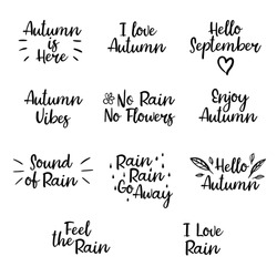 Set of autumn phrases: hello autumn, i love autumn, sound of rain, vibes, feel the rain, enjoy. Vector illustration. Modern brush calligraphy for banner, poster, card. Isolated on white background.