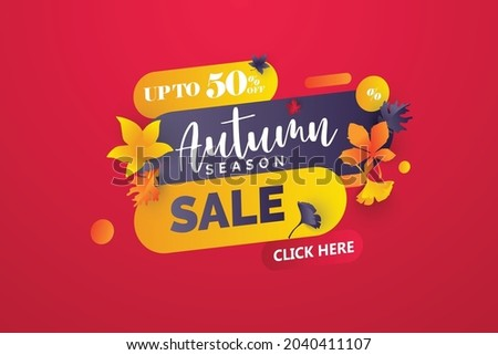 set of  autumn sale banner for