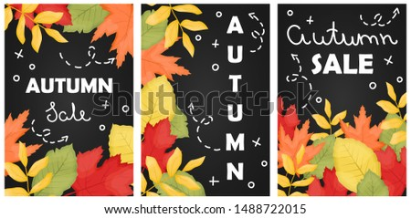 set of 3 autumn sale poster